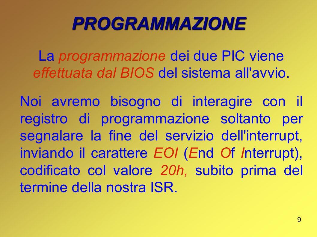 9 PROGRAMMAZIONE La programmazione dei due PIC viene effettuata dal BIOS del sistema all'avvio. Noi avremo bisogno di interagire con il registro di pr