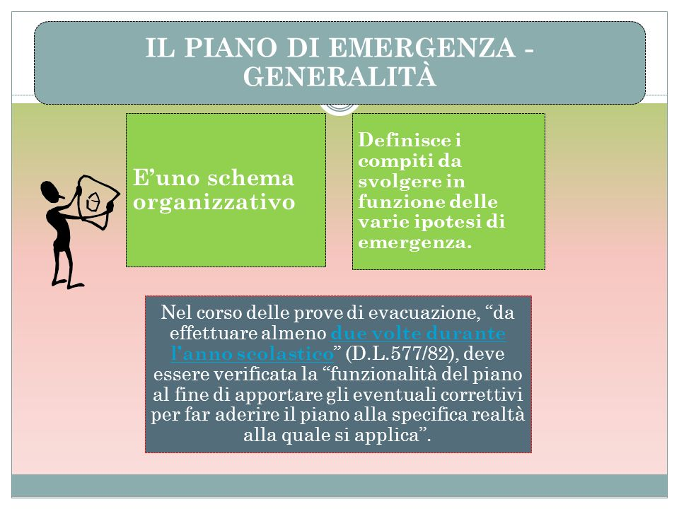 IL PIANO DI EMERGENZA - GENERALITÀ Euno schema organizzativo Definisce i compiti da svolgere in funzione delle varie ipotesi di emergenza. Nel corso d