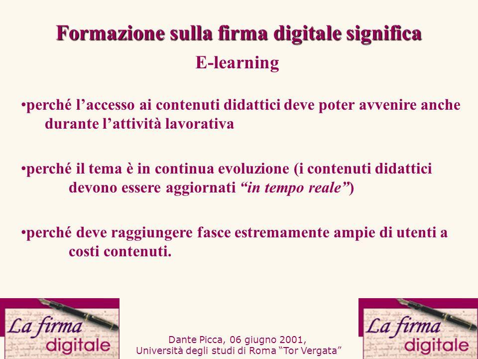 Dante Picca, 06 giugno 2001, Università degli studi di Roma Tor Vergata poter verificare lefficacia del corso e monitorare i percorsi dei discenti poter fornire assistenza generalizzata e personalizzata.