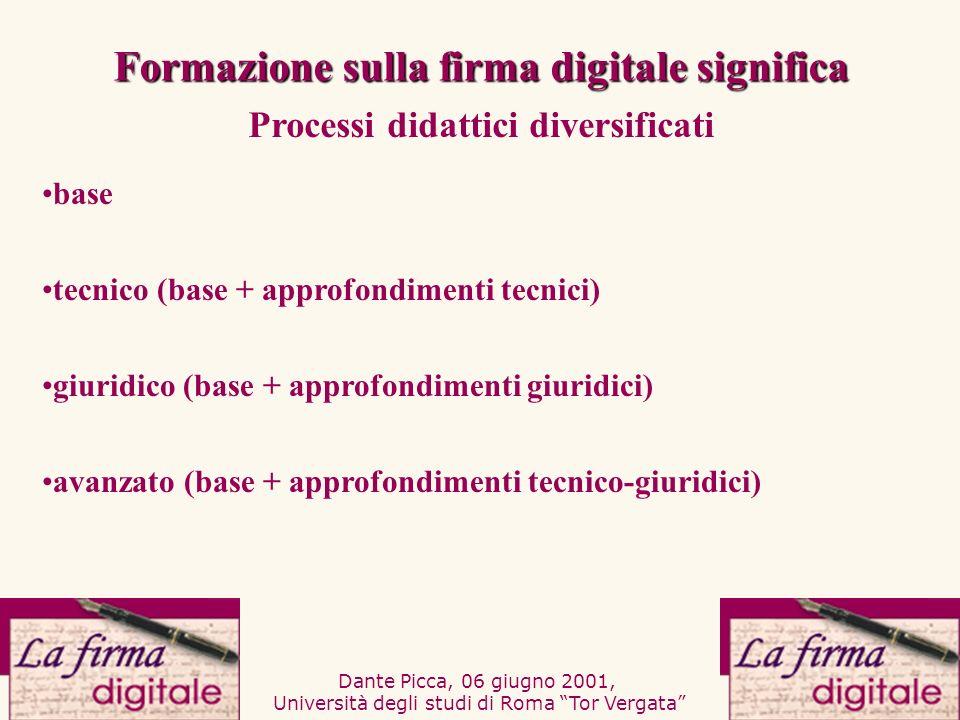 Dante Picca, 06 giugno 2001, Università degli studi di Roma Tor Vergata tecnico (base + approfondimenti tecnici) giuridico (base + approfondimenti giu