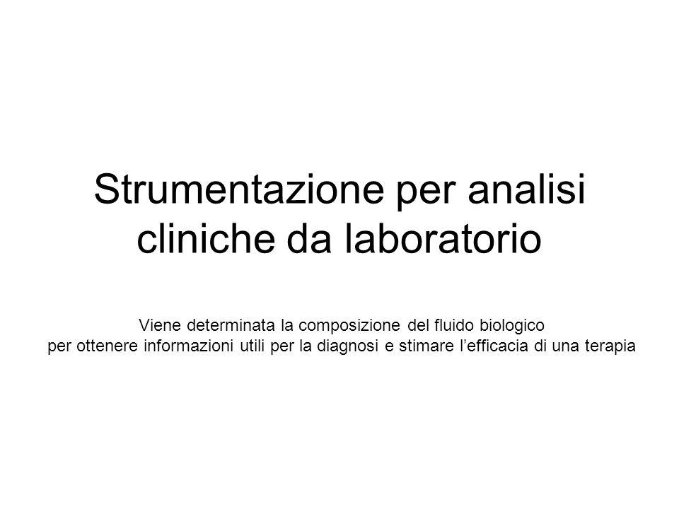 Strumentazione per analisi cliniche da laboratorio Viene determinata la composizione del fluido biologico per ottenere informazioni utili per la diagn