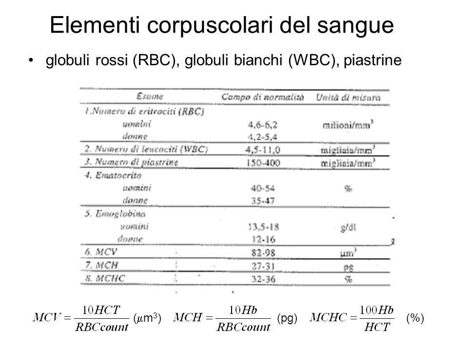 Elementi corpuscolari del sangue globuli rossi (RBC), globuli bianchi (WBC), piastrine (%)(pg) ( m 3 )
