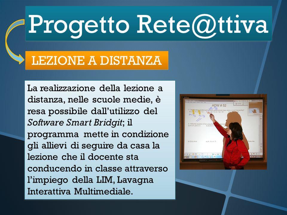 Progetto Rete@ttiva LEZIONE A DISTANZA La realizzazione della lezione a distanza, nelle scuole medie, è resa possibile dallutilizzo del Software Smart