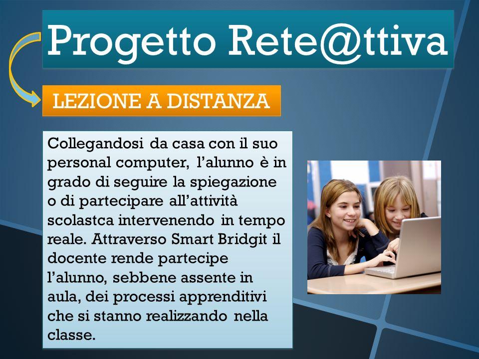 Progetto Rete@ttiva LEZIONE A DISTANZA Collegandosi da casa con il suo personal computer, lalunno è in grado di seguire la spiegazione o di partecipar