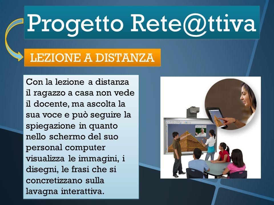 Progetto Rete@ttiva LEZIONE A DISTANZA Con la lezione a distanza il ragazzo a casa non vede il docente, ma ascolta la sua voce e può seguire la spiega
