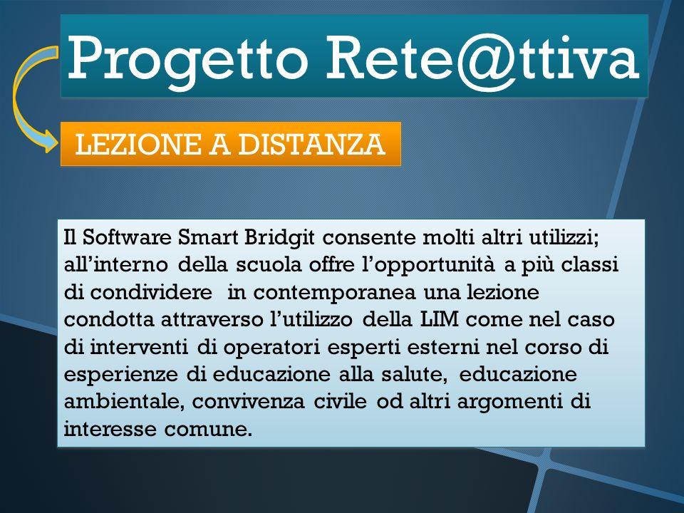 Progetto Rete@ttiva LEZIONE A DISTANZA Il Software Smart Bridgit consente molti altri utilizzi; allinterno della scuola offre lopportunità a più class