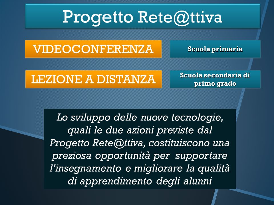 Progetto Rete@ttiva VIDEOCONFERENZA LEZIONE A DISTANZA Scuola primaria Scuola secondaria di primo grado Lo sviluppo delle nuove tecnologie, quali le d