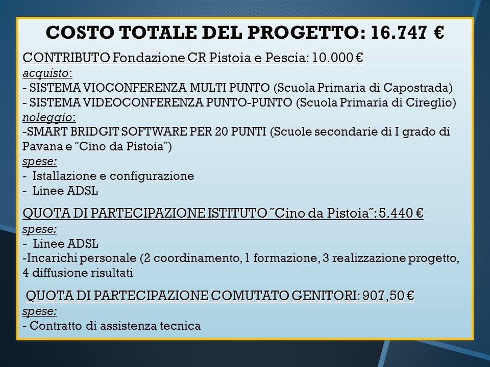 COSTO TOTALE DEL PROGETTO: 16.747 COSTO TOTALE DEL PROGETTO: 16.747 CONTRIBUTO Fondazione CR Pistoia e Pescia: 10.000 CONTRIBUTO Fondazione CR Pistoia