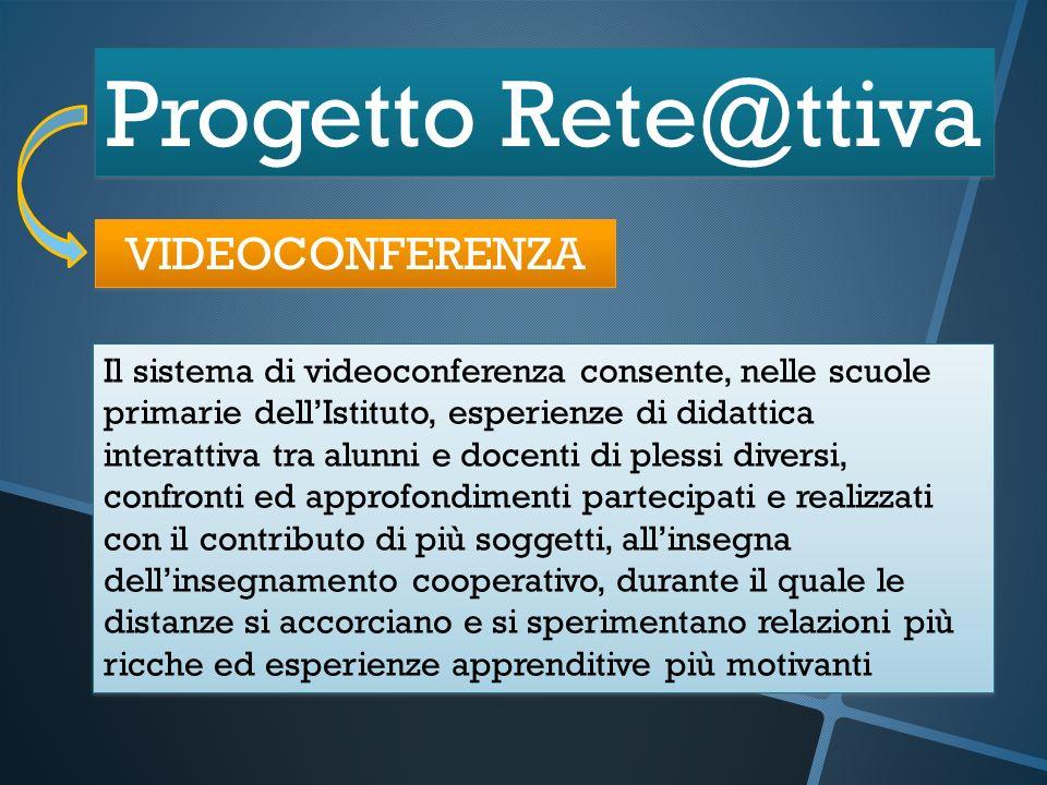Progetto Rete@ttiva VIDEOCONFERENZA Il sistema di videoconferenza consente, nelle scuole primarie dellIstituto, esperienze di didattica interattiva tr