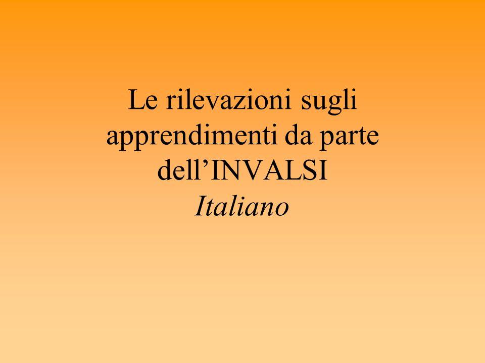 Le rilevazioni sugli apprendimenti da parte dellINVALSI Italiano
