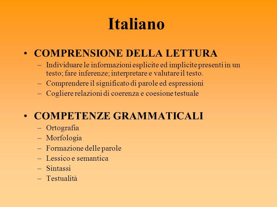 Italiano COMPRENSIONE DELLA LETTURA –Individuare le informazioni esplicite ed implicite presenti in un testo; fare inferenze; interpretare e valutare