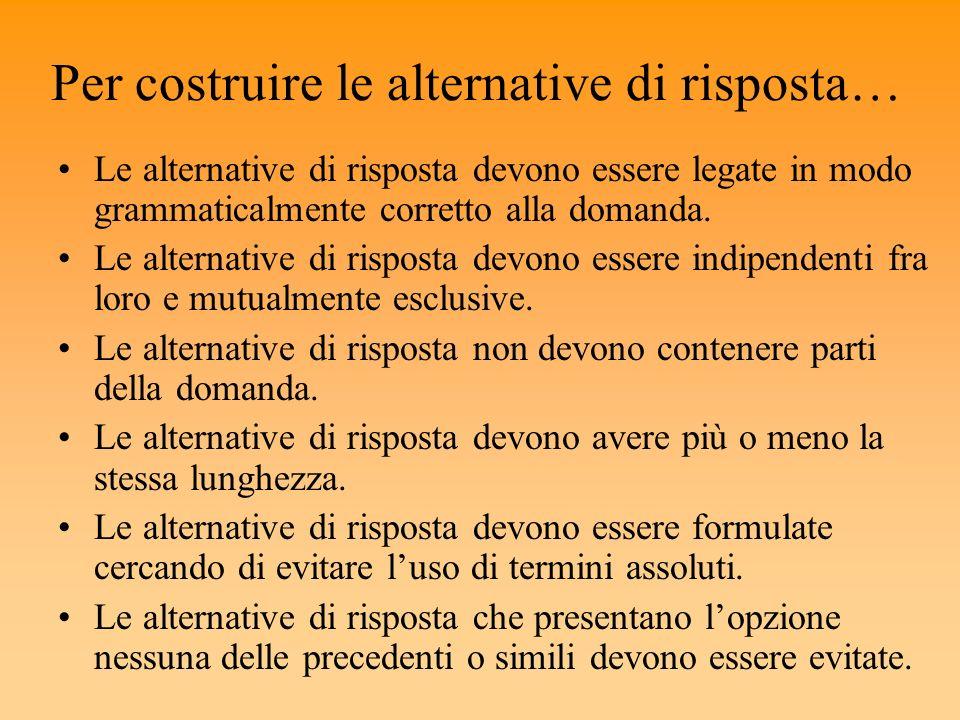 Per costruire le alternative di risposta… Le alternative di risposta devono essere legate in modo grammaticalmente corretto alla domanda. Le alternati
