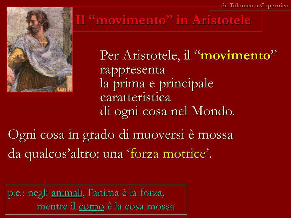 Per Aristotele, il movimento rappresenta la prima e principale caratteristica di ogni cosa nel Mondo. Ogni cosa in grado di muoversi è mossa da qualco