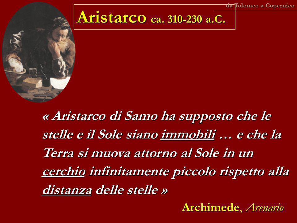 « Aristarco di Samo ha supposto che le stelle e il Sole siano immobili … e che la Terra si muova attorno al Sole in un cerchio infinitamente piccolo r