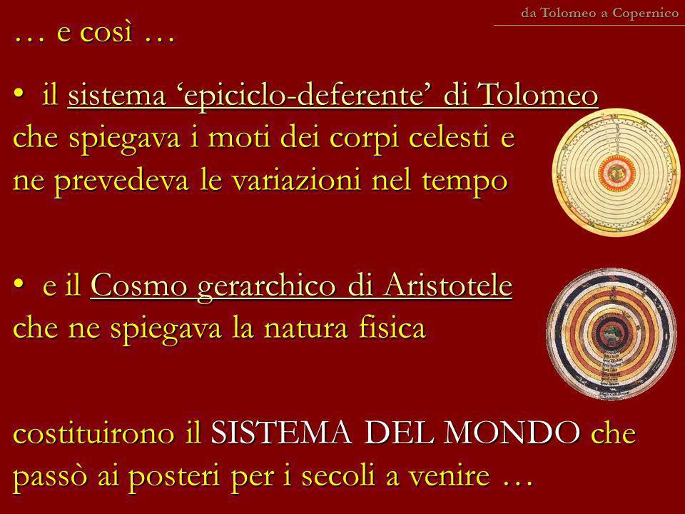 … e così … il sistema epiciclo-deferente di Tolomeo che spiegava i moti dei corpi celesti e ne prevedeva le variazioni nel tempo il sistema epiciclo-d