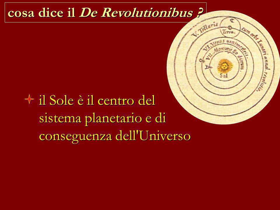 il Sole è il centro del sistema planetario e di conseguenza dell'Universo cosa dice il De Revolutionibus ?