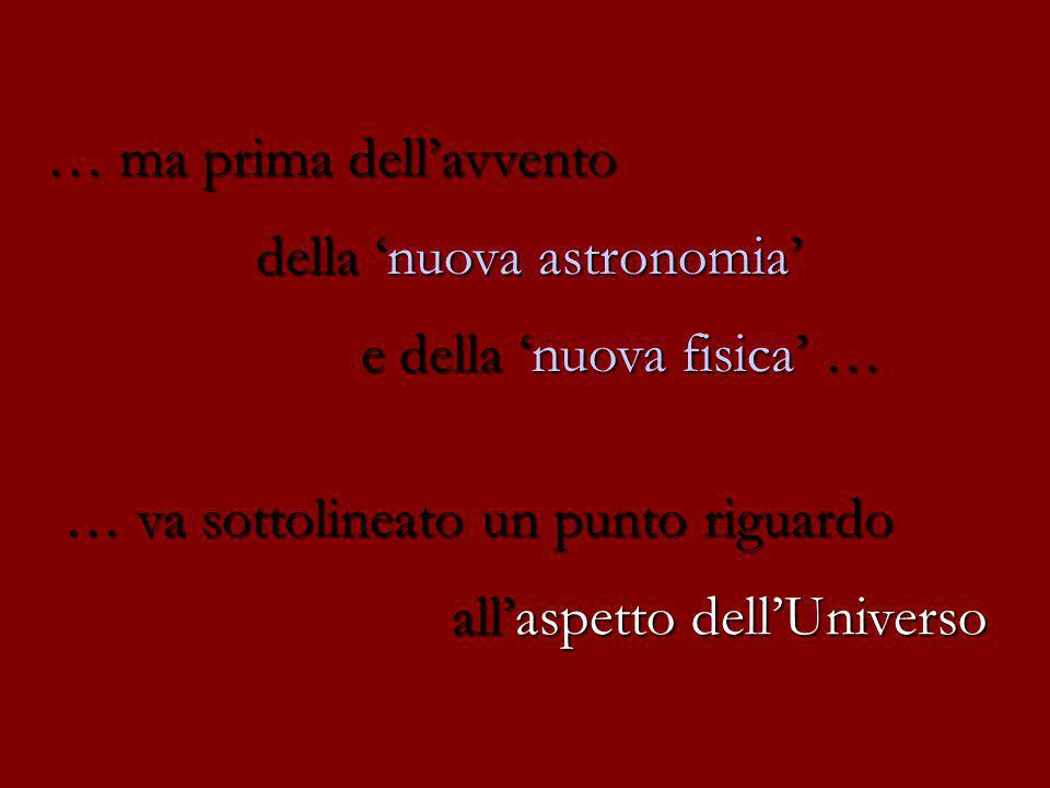 … ma prima dellavvento della nuova astronomia e della nuova fisica … … va sottolineato un punto riguardo allaspetto dellUniverso