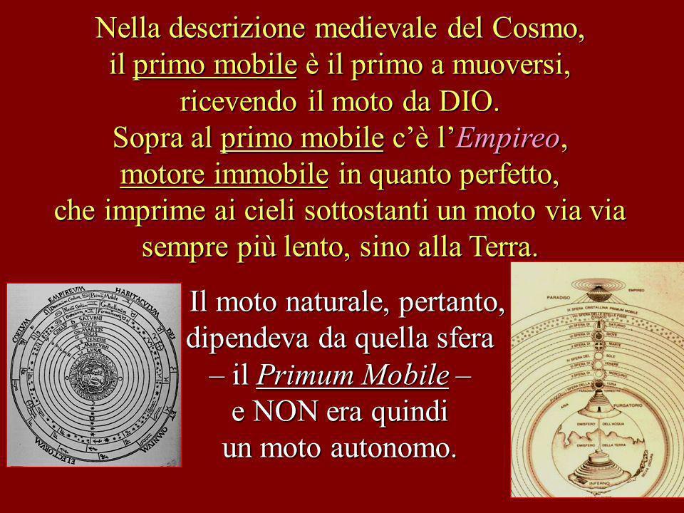 Nella descrizione medievale del Cosmo, il primo mobile è il primo a muoversi, ricevendo il moto da DIO. Sopra al primo mobile cè lEmpireo, motore immo