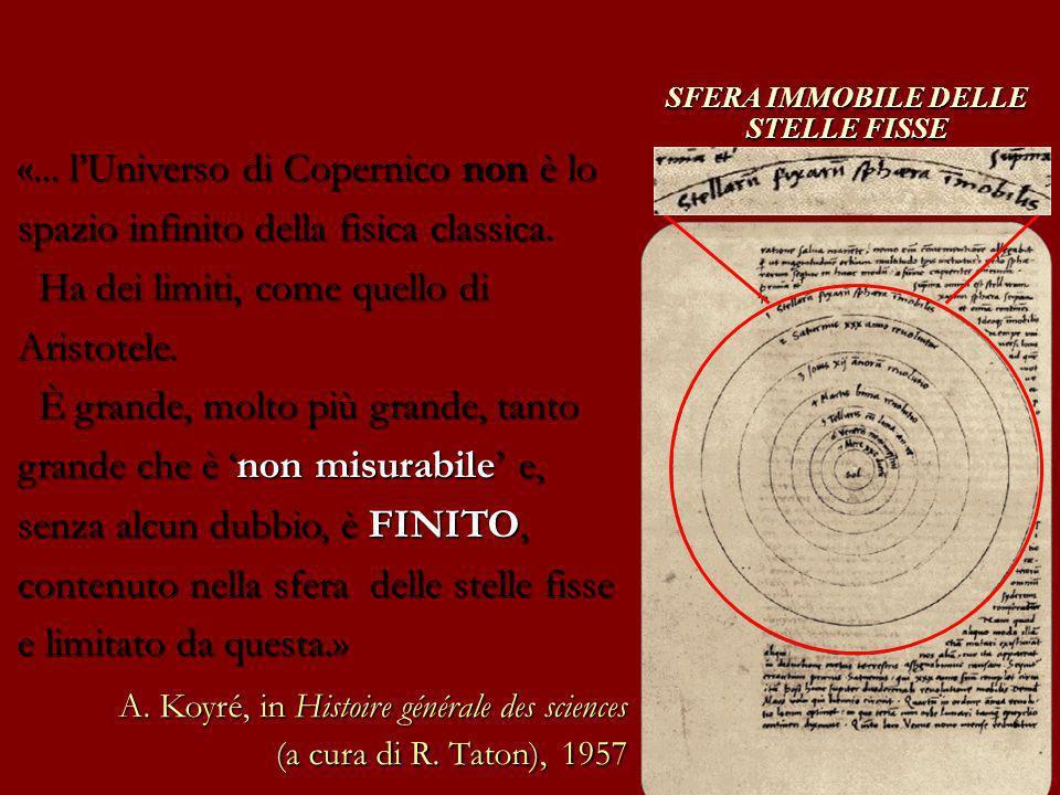 SFERA IMMOBILE DELLE STELLE FISSE «... lUniverso di Copernico non è lo spazio infinito della fisica classica. Ha dei limiti, come quello di Aristotele