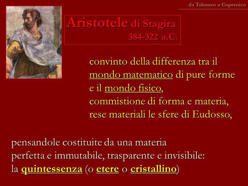 Aristotele di Stagira 384-322 a.C. convinto della differenza tra il mondo matematico di pure forme e il mondo fisico, commistione di forma e materia,