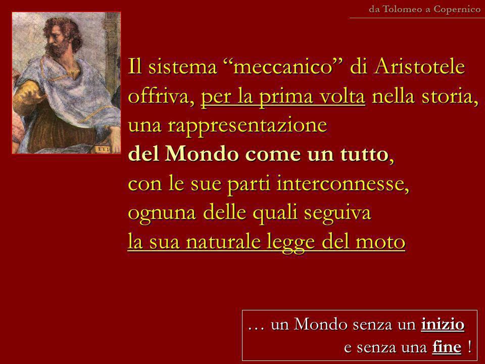 … un Mondo senza un inizio e senza una fine ! Il sistema meccanico di Aristotele offriva, per la prima volta nella storia, una rappresentazione del Mo