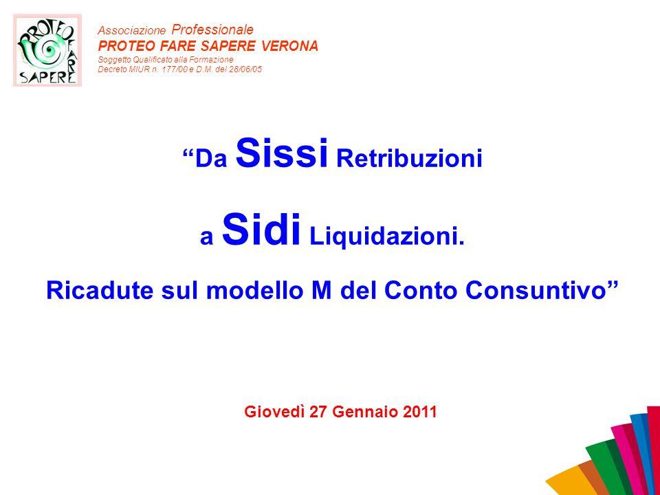 Associazione Professionale PROTEO FARE SAPERE VERONA Soggetto Qualificato alla Formazione Decreto MIUR n. 177/00 e D.M. del 28/06/05 Da Sissi Retribuz