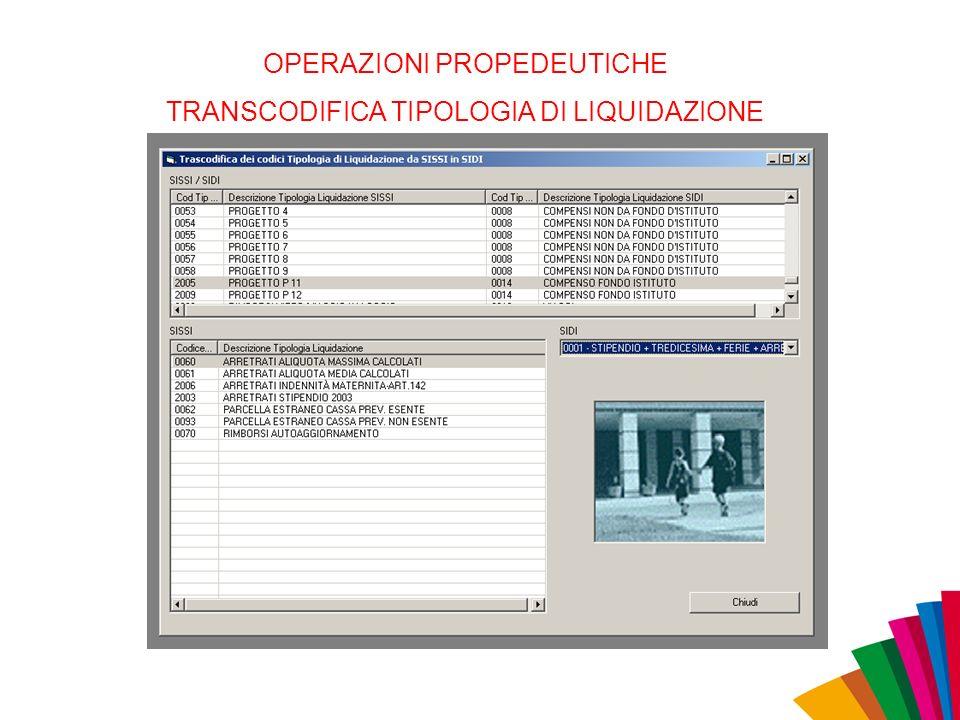 OPERAZIONI PROPEDEUTICHE TRANSCODIFICA TIPOLOGIA DI LIQUIDAZIONE