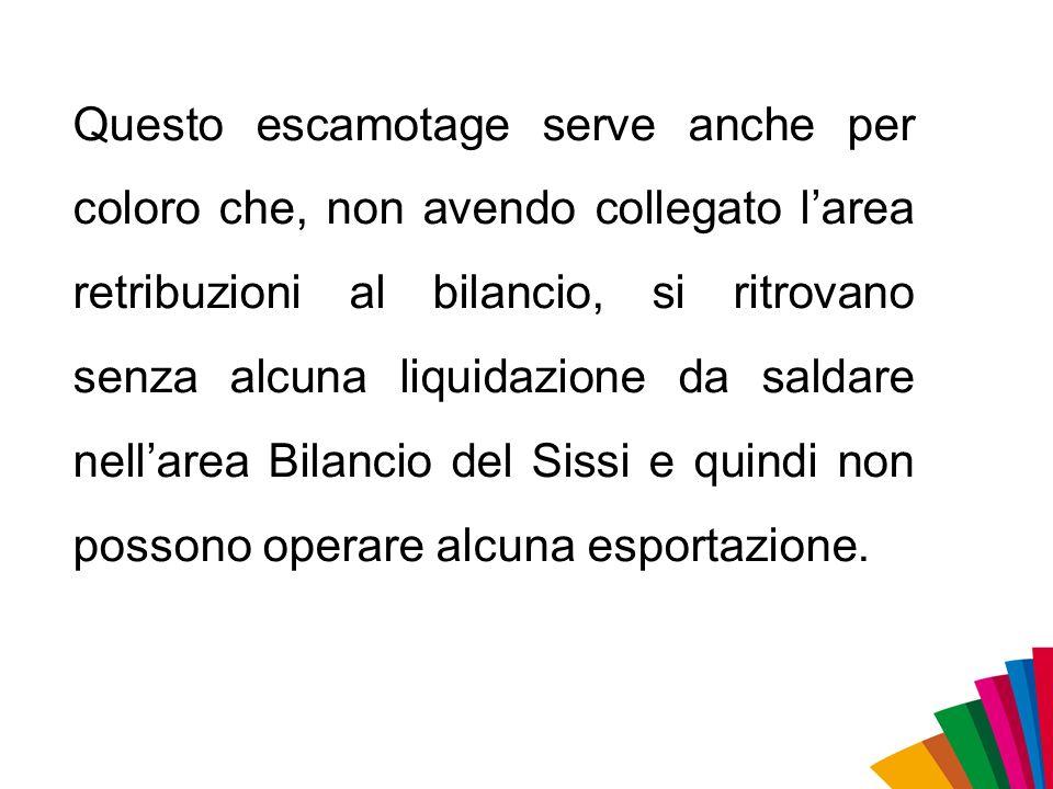 Questo escamotage serve anche per coloro che, non avendo collegato larea retribuzioni al bilancio, si ritrovano senza alcuna liquidazione da saldare n