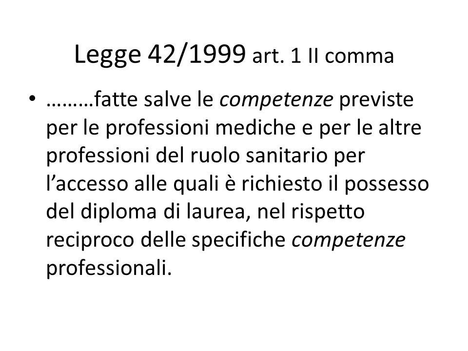 Legge 42/1999 art. 1 II comma ………fatte salve le competenze previste per le professioni mediche e per le altre professioni del ruolo sanitario per lacc