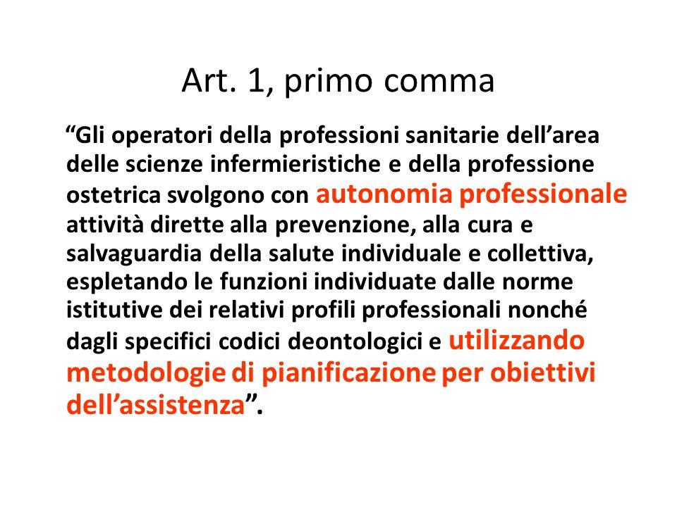Art. 1, primo comma Gli operatori della professioni sanitarie dellarea delle scienze infermieristiche e della professione ostetrica svolgono con auton