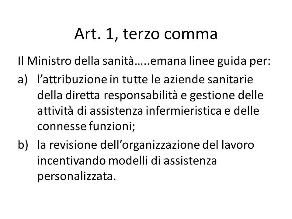 Art. 1, terzo comma Il Ministro della sanità…..emana linee guida per: a)lattribuzione in tutte le aziende sanitarie della diretta responsabilità e ges