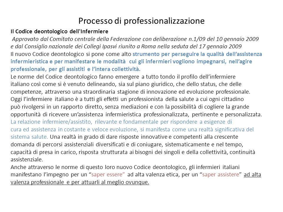 Processo di professionalizzazione Il Codice deontologico dell'Infermiere Approvato dal Comitato centrale della Federazione con deliberazione n.1/09 de