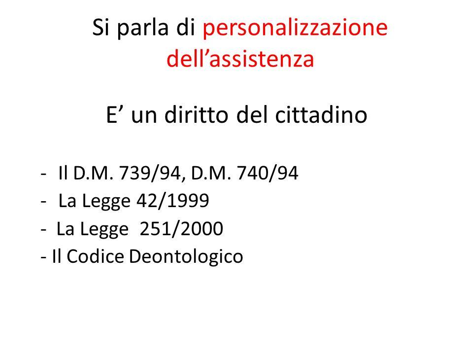 Si parla di personalizzazione dellassistenza E un diritto del cittadino -Il D.M. 739/94, D.M. 740/94 -La Legge 42/1999 - La Legge 251/2000 - Il Codice