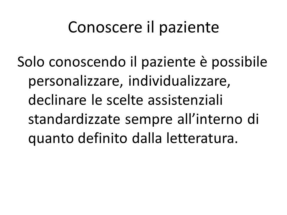 Conoscere il paziente Solo conoscendo il paziente è possibile personalizzare, individualizzare, declinare le scelte assistenziali standardizzate sempr