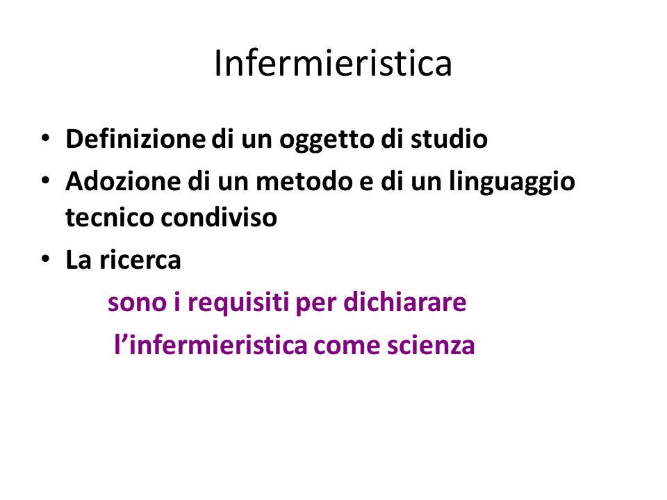 Infermieristica Definizione di un oggetto di studio Adozione di un metodo e di un linguaggio tecnico condiviso La ricerca sono i requisiti per dichiar