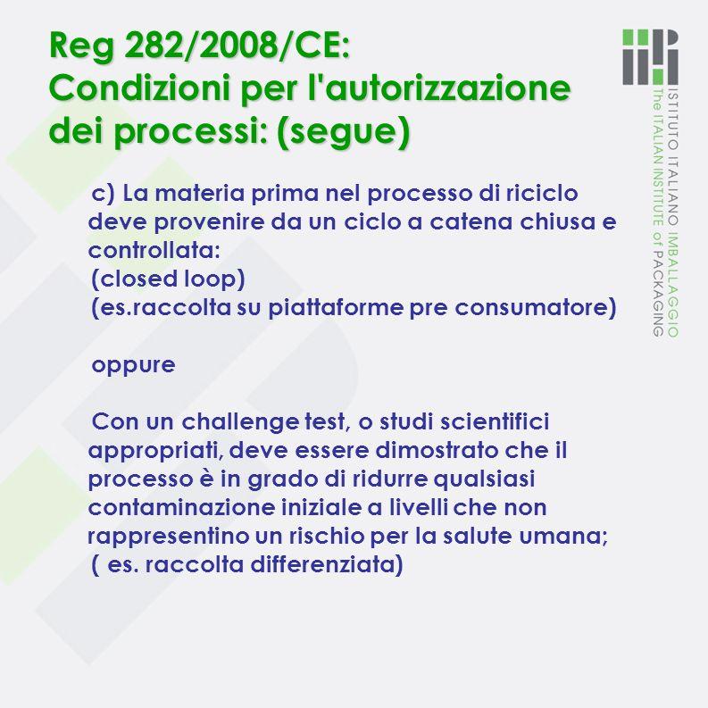 Reg 282/2008/CE: Condizioni per l'autorizzazione dei processi a) materia prima nel processo di riciclo ( materiali e oggetti recuperati ) : caratteriz