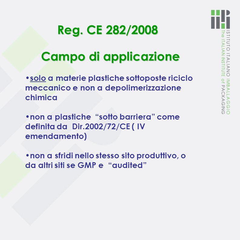 Reg. CE 282/2008: aggiorna il Reg. CE 2023/2006 sulle GMP Materie plastiche di riciclo a contatto con alimenti In vigore dal 17 aprile 2008 In fase di