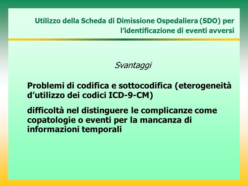 Utilizzo della Scheda di Dimissione Ospedaliera (SDO) per lidentificazione di eventi avversi Svantaggi Problemi di codifica e sottocodifica (eterogeneità dutilizzo dei codici ICD-9-CM) difficoltà nel distinguere le complicanze come copatologie o eventi per la mancanza di informazioni temporali