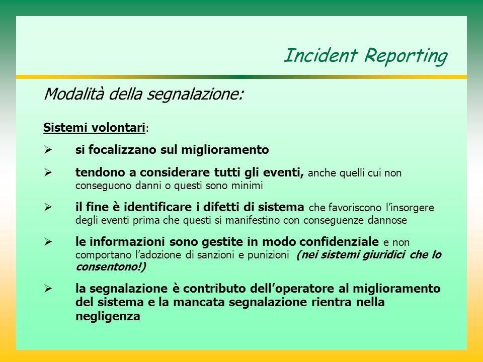 Incident Reporting Modalità della segnalazione: Sistemi volontari : si focalizzano sul miglioramento tendono a considerare tutti gli eventi, anche que