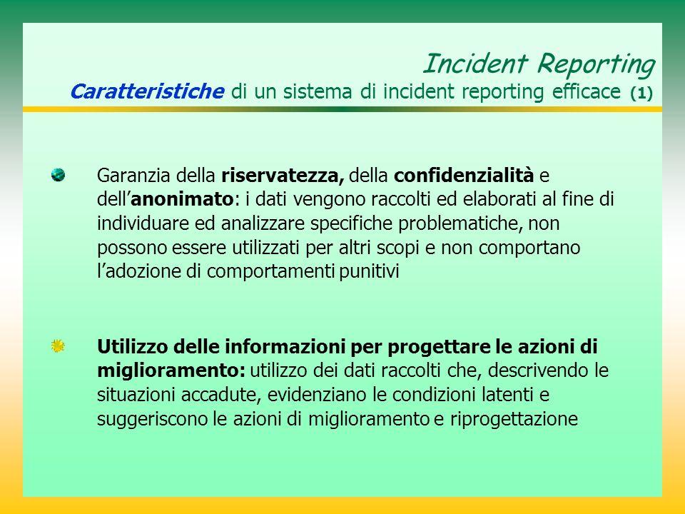 Incident Reporting Caratteristiche di un sistema di incident reporting efficace (1) Garanzia della riservatezza, della confidenzialità e dellanonimato