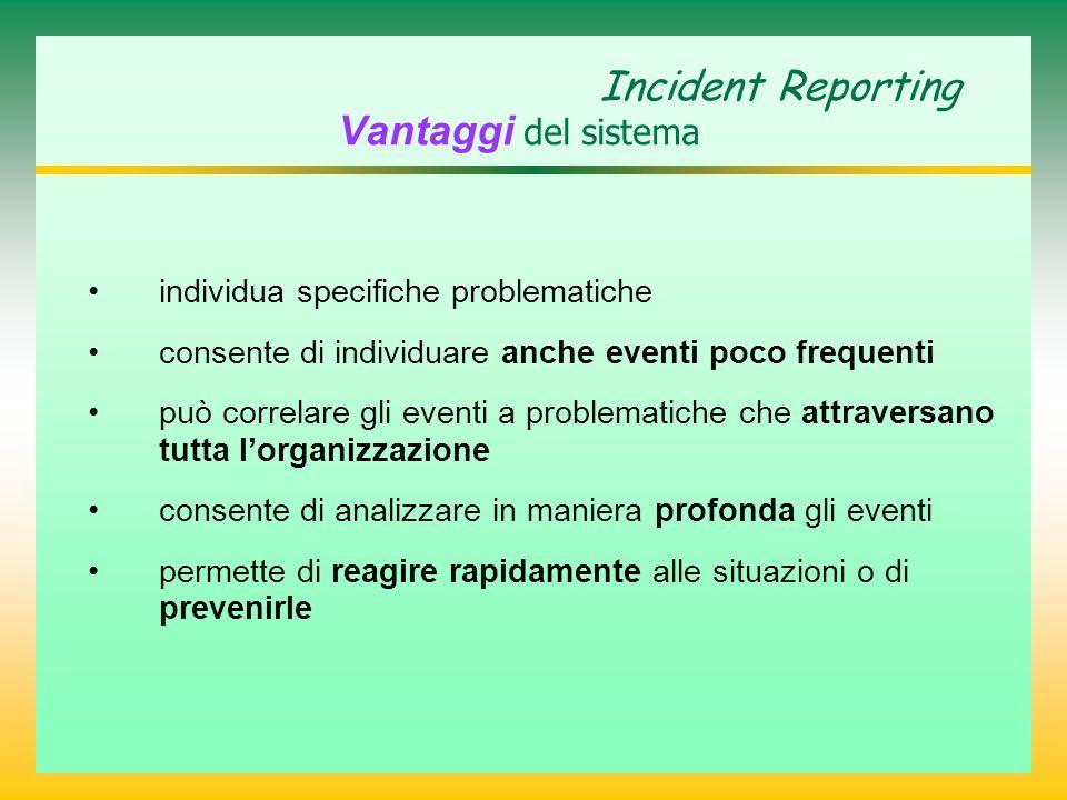 Incident Reporting Vantaggi del sistema individua specifiche problematiche consente di individuare anche eventi poco frequenti può correlare gli eventi a problematiche che attraversano tutta lorganizzazione consente di analizzare in maniera profonda gli eventi permette di reagire rapidamente alle situazioni o di prevenirle