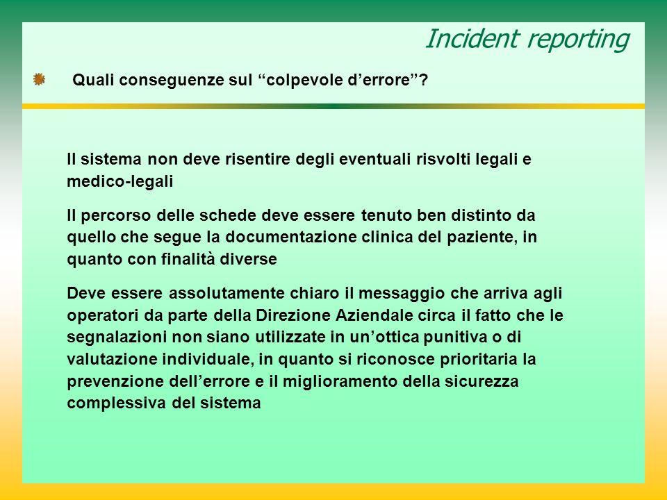 Incident reporting Quali conseguenze sul colpevole derrore? Il sistema non deve risentire degli eventuali risvolti legali e medico-legali Il percorso