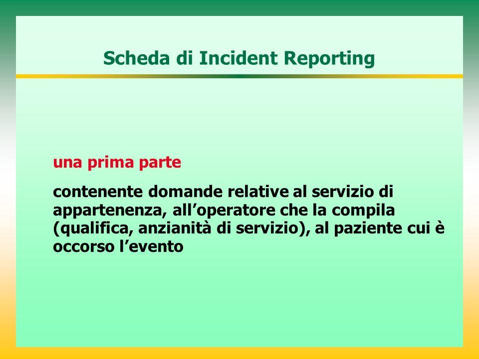 Scheda di Incident Reporting una prima parte contenente domande relative al servizio di appartenenza, alloperatore che la compila (qualifica, anzianità di servizio), al paziente cui è occorso levento