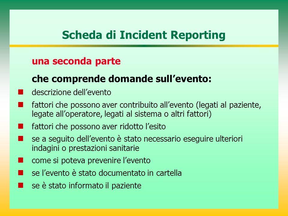 Scheda di Incident Reporting una seconda parte che comprende domande sullevento: descrizione dellevento fattori che possono aver contribuito allevento