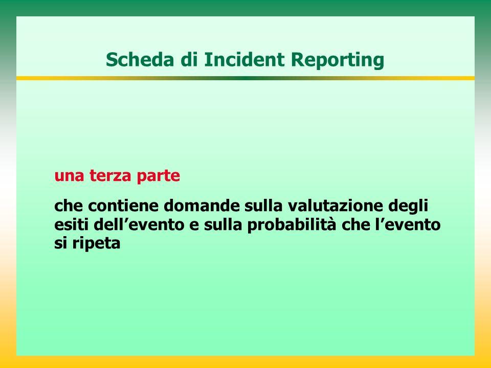 Scheda di Incident Reporting una terza parte che contiene domande sulla valutazione degli esiti dellevento e sulla probabilità che levento si ripeta