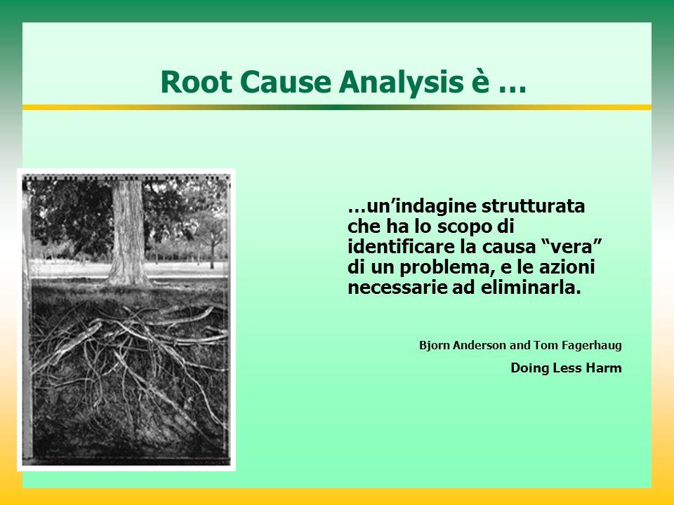 Root Cause Analysis è … …unindagine strutturata che ha lo scopo di identificare la causa vera di un problema, e le azioni necessarie ad eliminarla.
