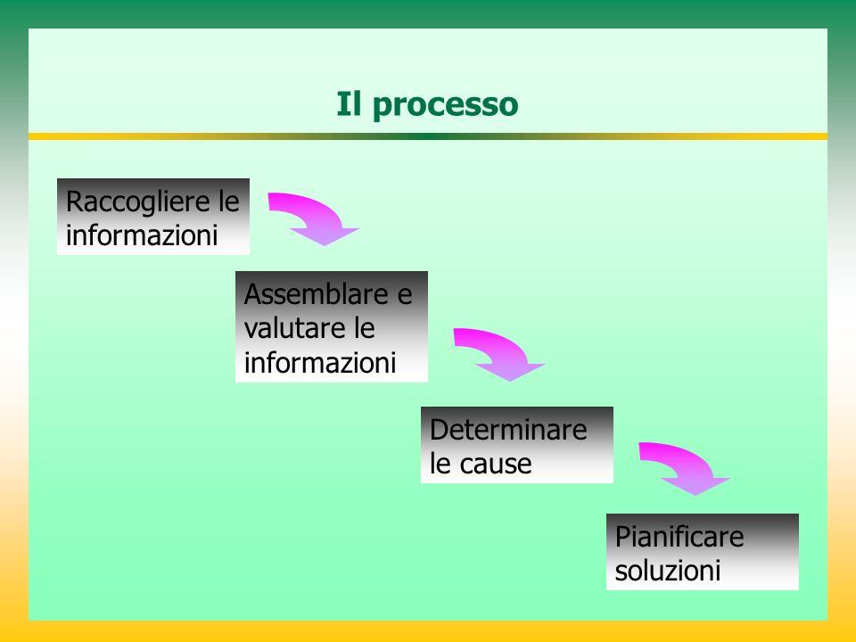 Il processo Raccogliere le informazioni Assemblare e valutare le informazioni Determinare le cause Pianificare soluzioni