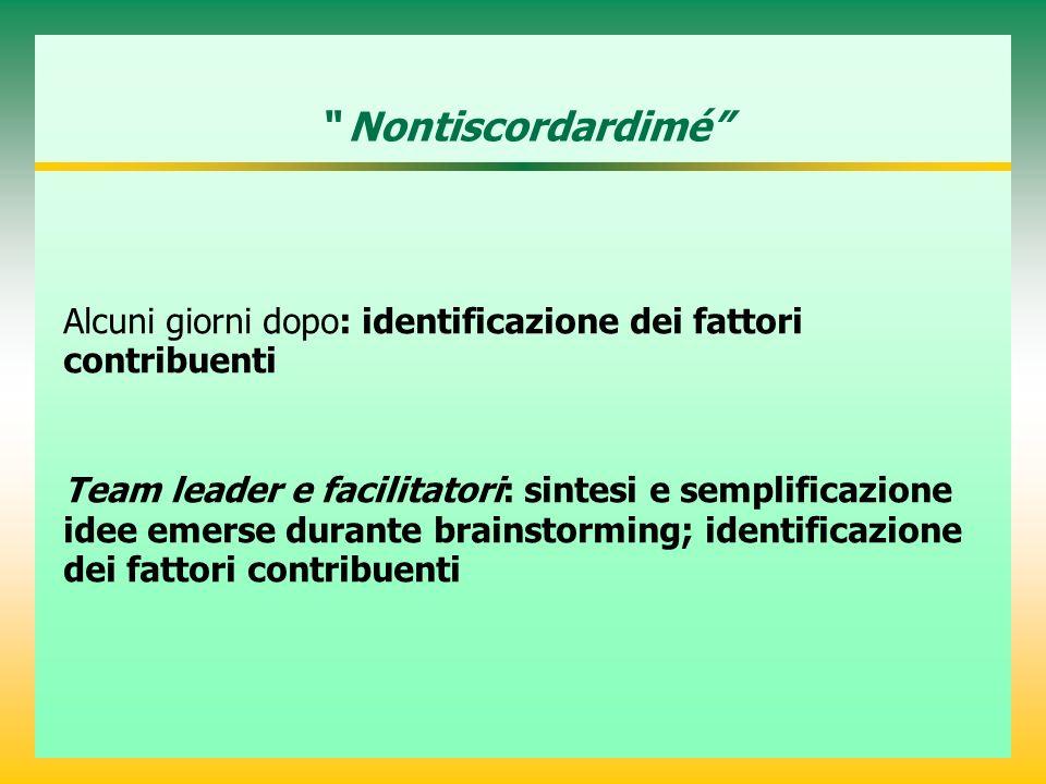 Nontiscordardimé Alcuni giorni dopo: identificazione dei fattori contribuenti Team leader e facilitatori: sintesi e semplificazione idee emerse durante brainstorming; identificazione dei fattori contribuenti