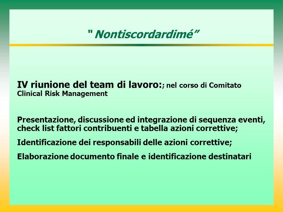 Nontiscordardimé IV riunione del team di lavoro: ; nel corso di Comitato Clinical Risk Management Presentazione, discussione ed integrazione di sequen