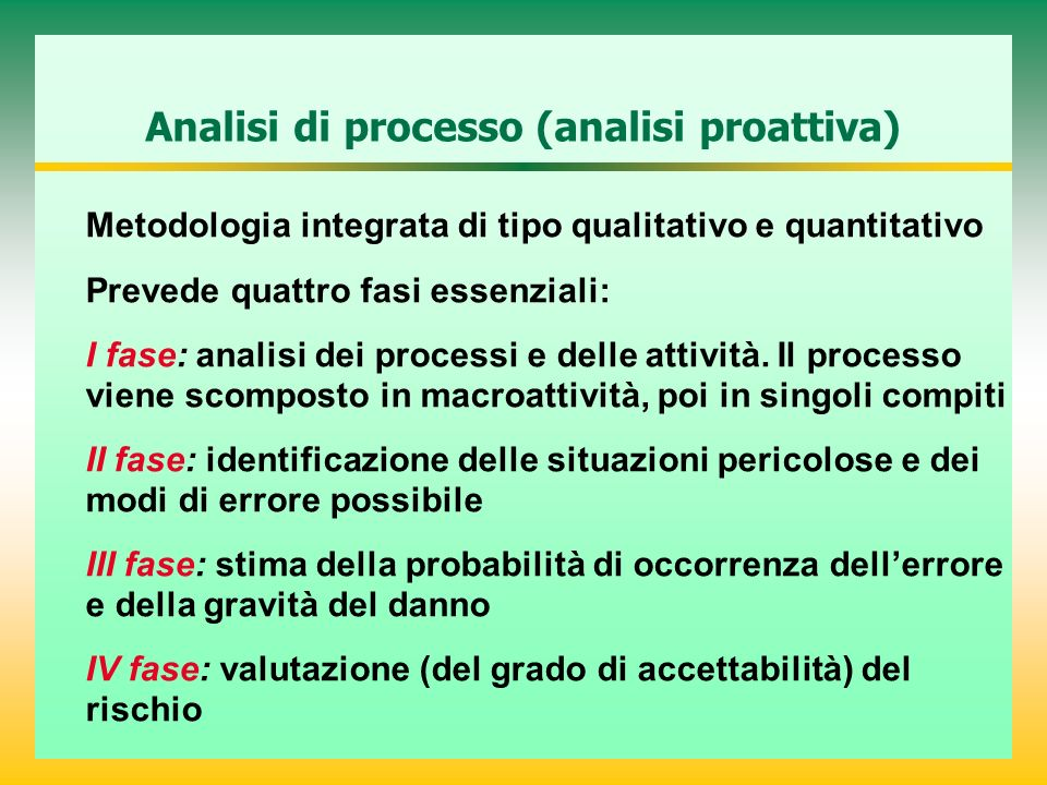 Analisi di processo (analisi proattiva) Metodologia integrata di tipo qualitativo e quantitativo Prevede quattro fasi essenziali: I fase: analisi dei processi e delle attività.